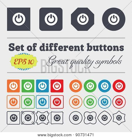 Power,  Switch On, Turn On   Icon Sign Big Set Of Colorful, Diverse, High-quality Buttons. Vector