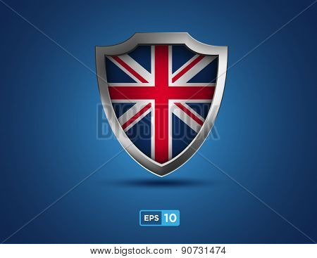 United Kingdom of Great Britain Shield On The Blue Background