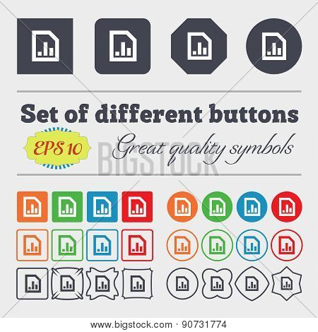Growth And Development Concept. Graph Rate  Icon Sign Big Set Of Colorful, Diverse, High-quality But