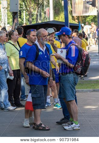 Donetsk, Ukraine - June, 11, 2012: French Football Fans At The European Championships