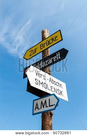 signpost against the blue sky