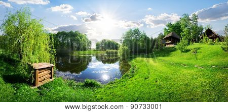 River and wooden house