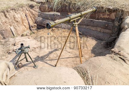Mortar and grenade launcher in the trenches