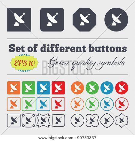 Satellite Dish  Icon Sign Big Set Of Colorful, Diverse, High-quality Buttons. Vector
