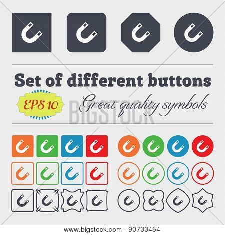 Magnet, Horseshoe  Icon Sign Big Set Of Colorful, Diverse, High-quality Buttons. Vector