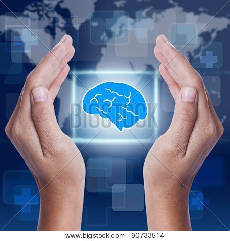 Hand showing brain symbol. medical concept