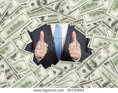 A Man With Thumbs Up Inside The Us Dollar Bills Frame. 100 Dollar Nominal Bills Both Sides. Front An