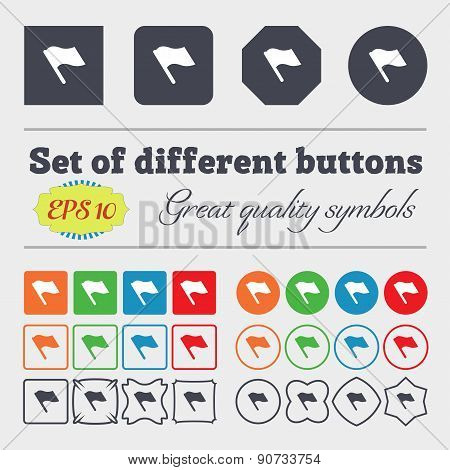 Finish, Start Flag  Icon Sign Big Set Of Colorful, Diverse, High-quality Buttons. Vector