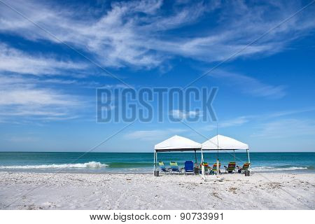 Beach Shelter And Chairs