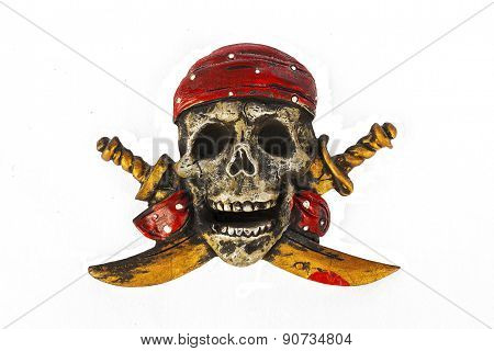 Pirate Flag Skull And Cross Bones Motif Isolated On White Background.
