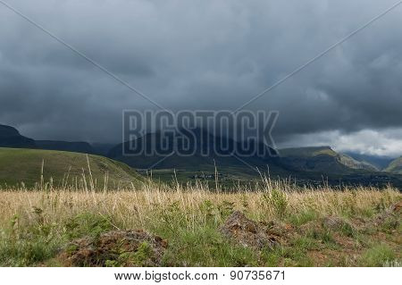 Drakensberg mountain in one stormy day