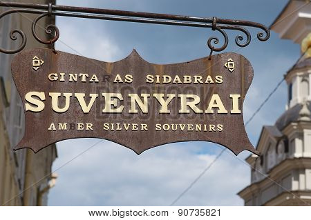 Exterior of the souvenir shop sign in Vilnius, Lithuania.