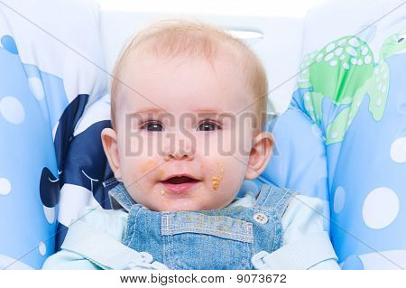 Baby With Dirty Mouth After Cookie