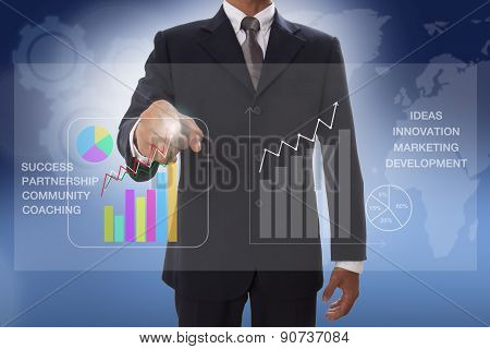 businessman hand touch chart business on virtual screen