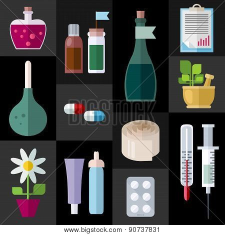 Medicine Items Flat Icons
