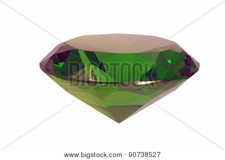 Green Emerald Gemstone On White Background, Lateral View