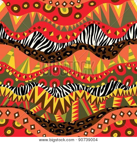 Bright African Seamless Ornament With Zebra And Leopard Skins