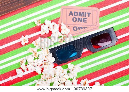 Popcorn On The Table Movie Tickets, 3D Glasses Top View