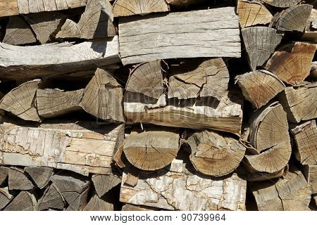 Group of cut logs for firewood.