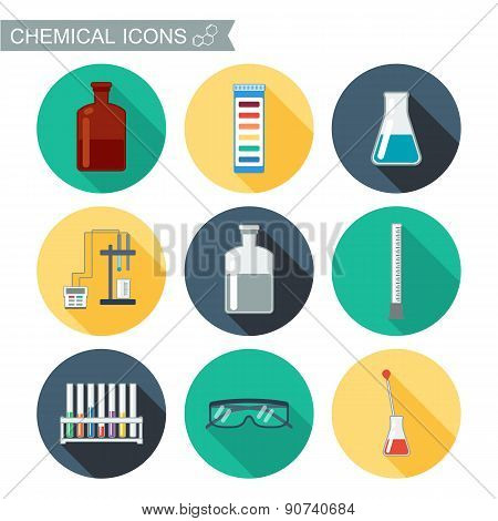 Chemical Icons. Flat Design With Shadows. Chemical Laboratory. Vector