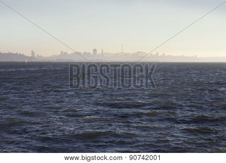 San Francisco downtown cityscape from the bay, retro photography, bay bridge, golden gate bridge