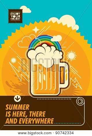Summer poster with mug of beer. Vector illustration.