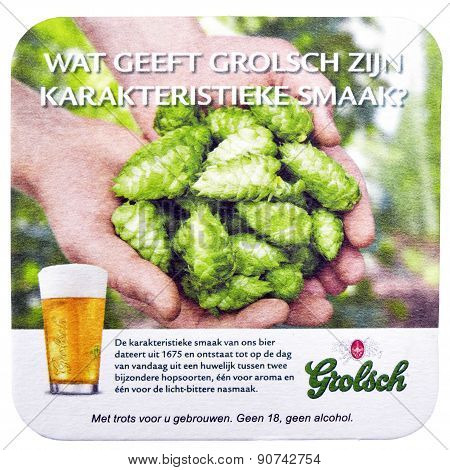 Netherlands - Delft - Circa February 2015: Beer Coaster For Advertising For Grolsch Volmout.