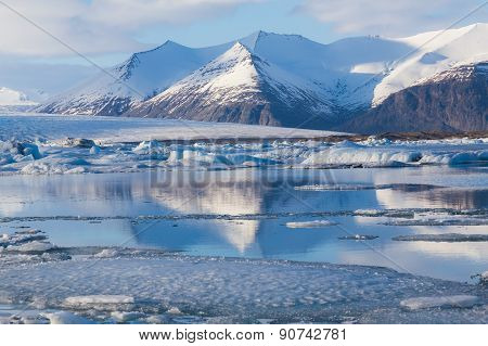 Beautiful blue ice lagoon with clear blur sky