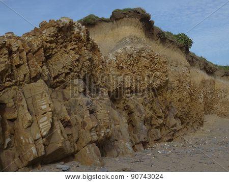Beach Cliffs And Errosion Seascape