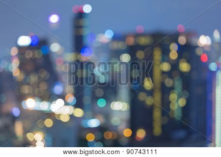 Aerial view of blur bokeh city background