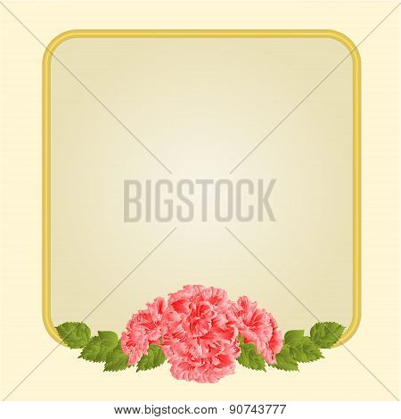 Golden Frame With Pink Hibiscus Vector