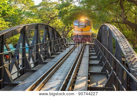 Kanchanaburi, Thailand - January 5, 2015: Train on the famous bridge over the river Kwai in Kanchanaburi, Thailand