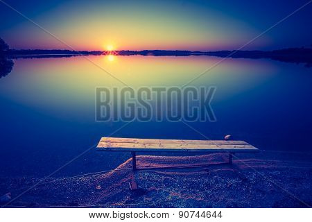 Vintage Photo Of Beautiful Sunset Over Calm Lake