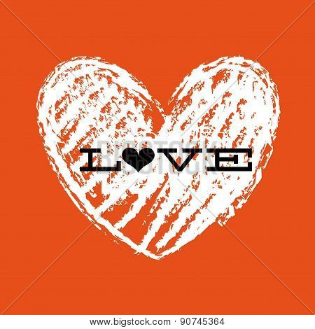 Love Text over orange background vector illustration