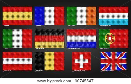 Western Europe flags made of bubbles