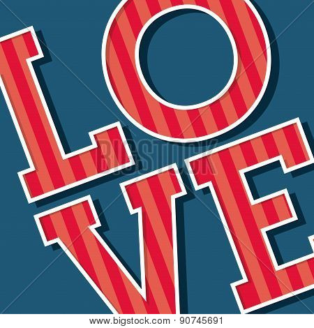 Love Text over blue background vector illustration