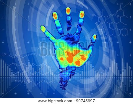 technology background - thermal hand print, blue technology background, chemical formulas & digital wave
