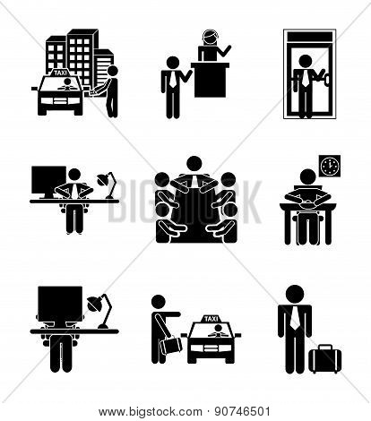 daily routine over white background vector illustration