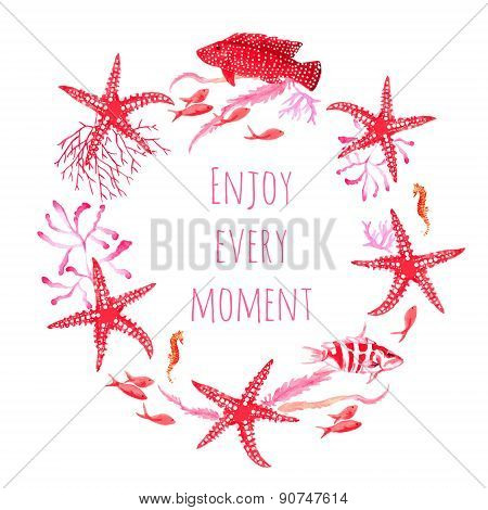Red Sea Fauna Watercolor Vector Design Round Frame