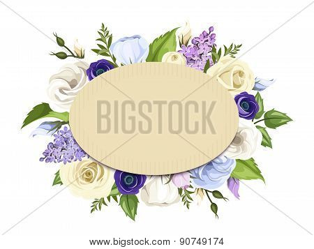 Cardboard card with blue, purple and white roses, lisianthuses, anemones and lilac flowers. Vector e
