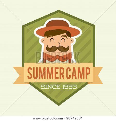 summer camp design over beige backgroun vector illustration