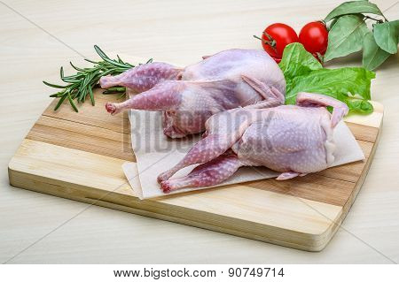 Raw Quail Ready For Cooking