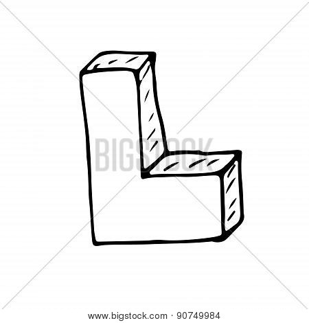 English Alphabet - Hand Drawn Letter L