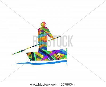 abstract fisherman