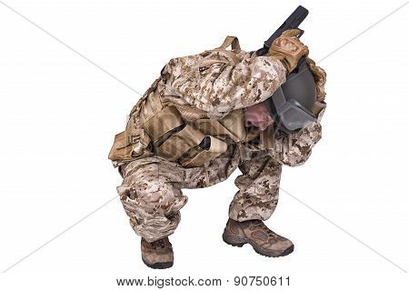Army Soldier Crouching