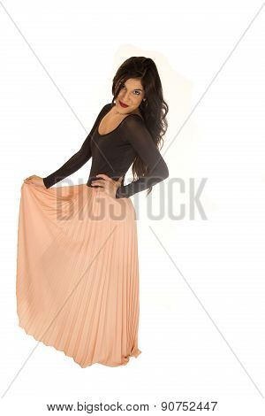 Pretty Brunette Female Standing Posing Holding Pink Skirt