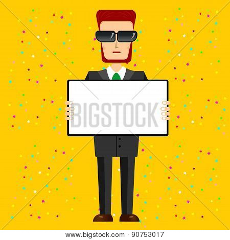 bearded businessman with sunglasses holding banner