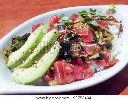 Ahi Fish, Seaweed And Rice Japanese Cuisine