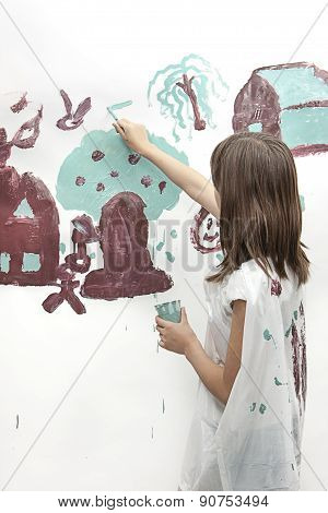Girl Works On Simple Painting.