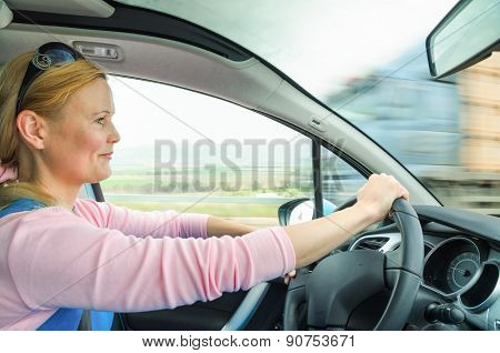 Attractive Adult Woman Safe Carefully Driving Car Suburban Road
